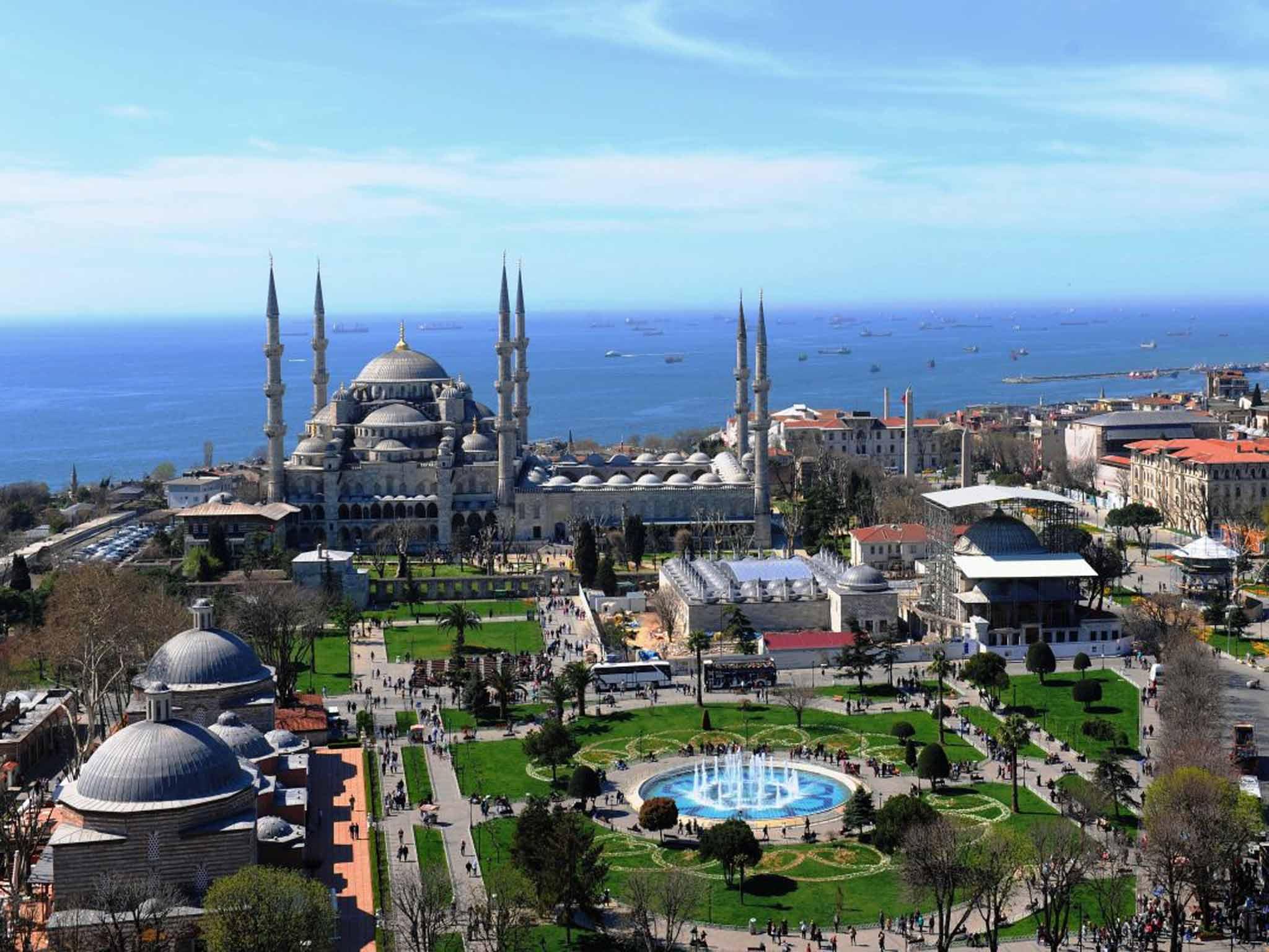 Обои Султанахмет, пролив, башни, Пейзаж, голубая мечеть, дворец, турция, стамбул. Города foto 9